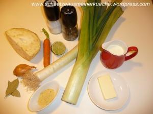 Zutaten für Lauch-Kartoffelcremesuppe