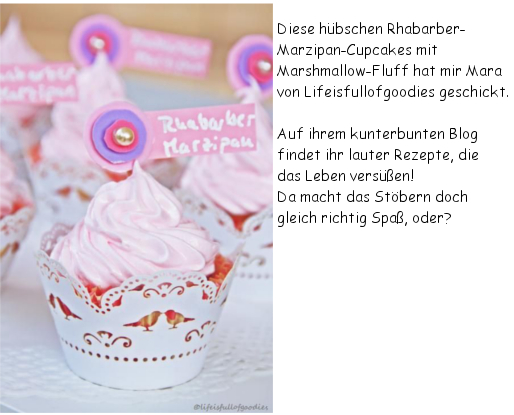 Rhabarber-Marzipan-Cupcakes mit Marshmallow-Fluff