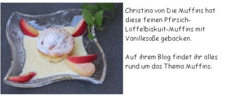Pfirsich-Löffelbiskuit-Muffins mit Vanillesoße