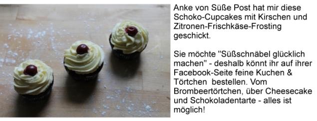 Schoko-Cupcakes mit Kirschen und Zitronen-Frischkäse-Frosting