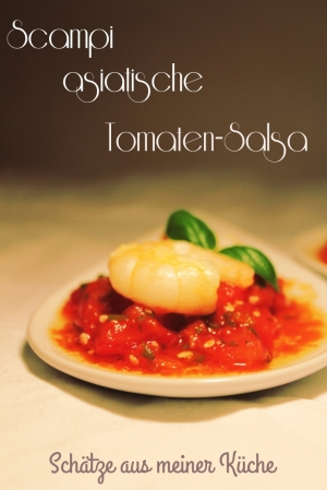 Scampi auf asiatischer Tomatensalsa