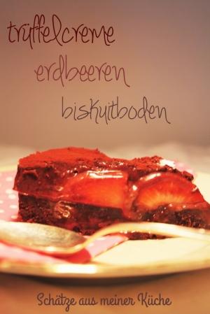 Trüffelcreme Torte mit Erdbeeren Stück