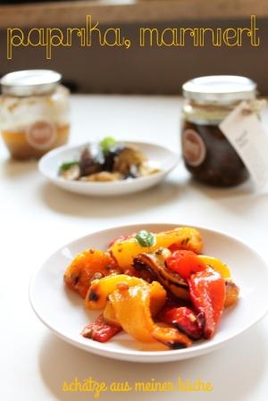 Paprika, aubergine mariniert