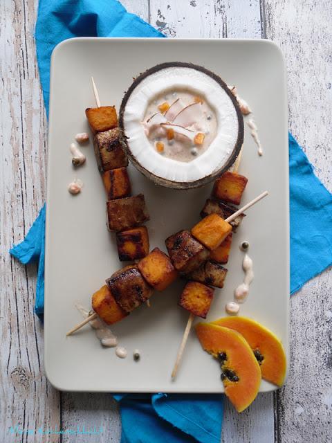 Tuna & Sweet Potatoe mit Kurumba-Papaya, Garam-Masala-Dip