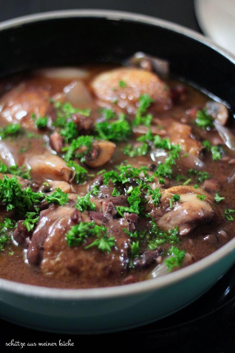 Coq au Vin mit Rosmarin-Kartoffeln